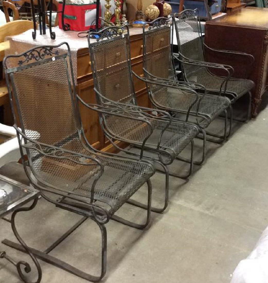 Antique Set 4 Iron Metal Outdoor Arm Chairs