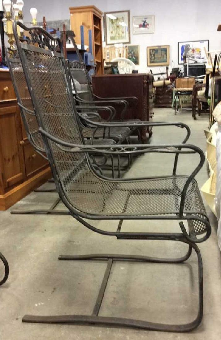 Antique Set 4 Iron Metal Outdoor Arm Chairs - 4