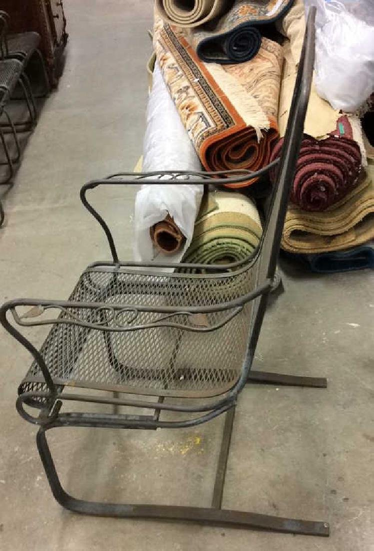 Antique Set 4 Iron Metal Outdoor Arm Chairs - 6