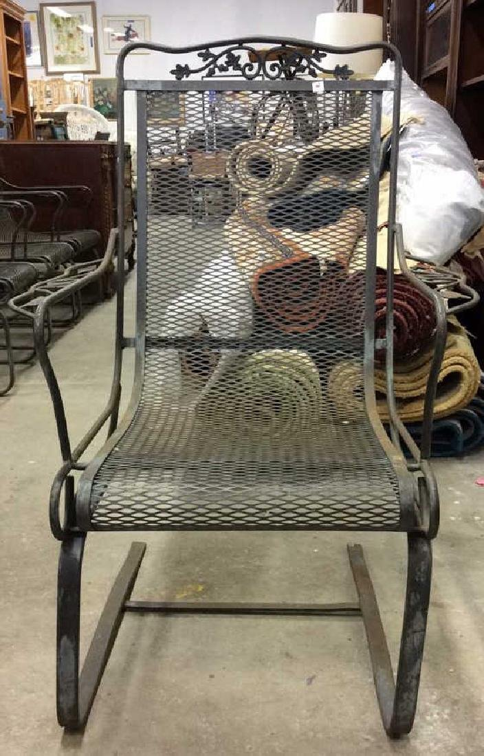 Antique Set 4 Iron Metal Outdoor Arm Chairs - 7