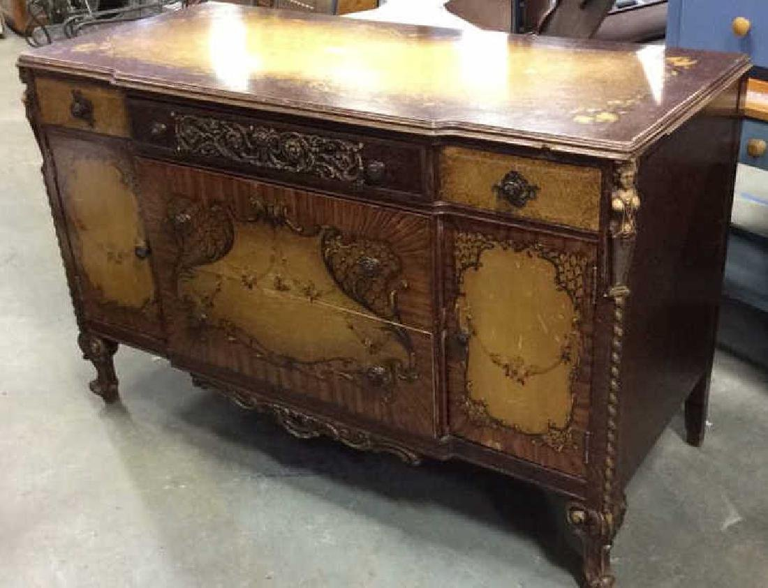Carved Painted Antique French Commode