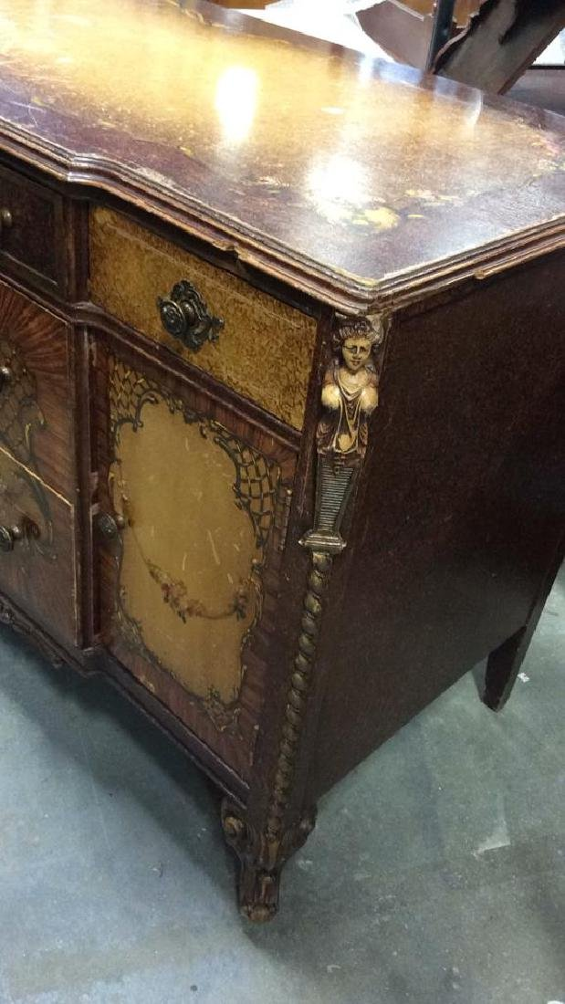 Carved Painted Antique French Commode - 2