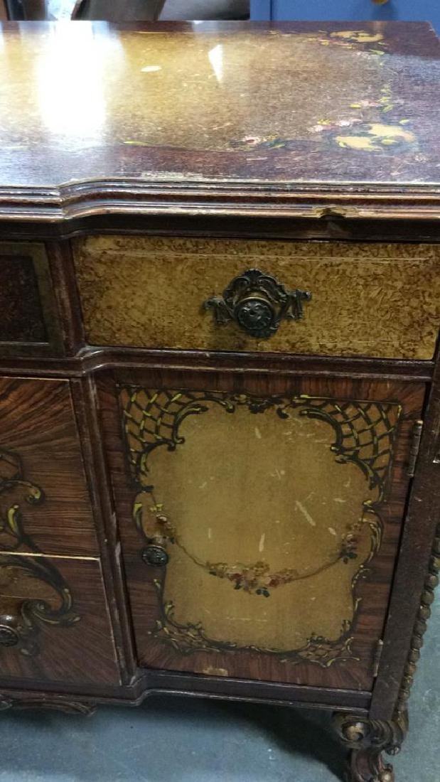 Carved Painted Antique French Commode - 3