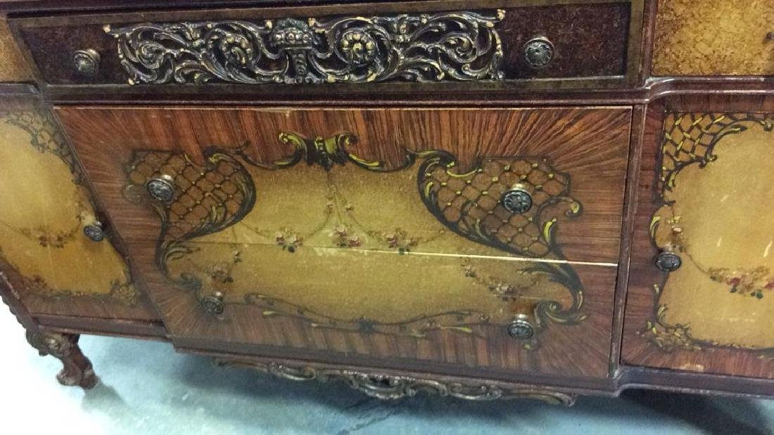 Carved Painted Antique French Commode - 4
