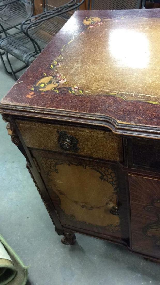 Carved Painted Antique French Commode - 5