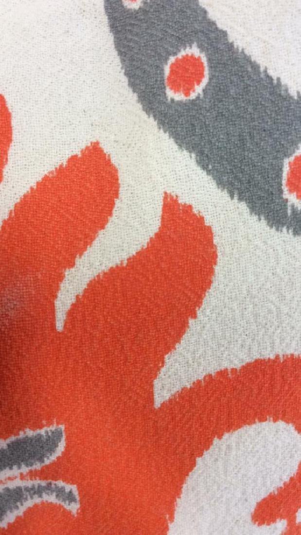 Pair Orange Gray White Ikat Design Pillows - 10