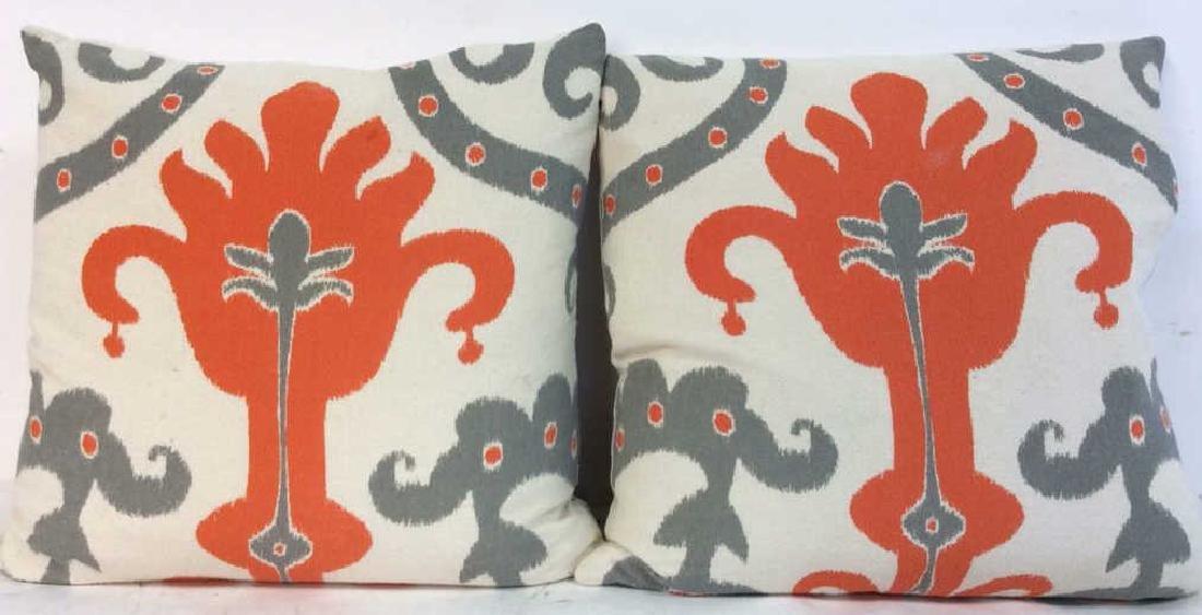 Pair Orange Gray White Ikat Design Pillows