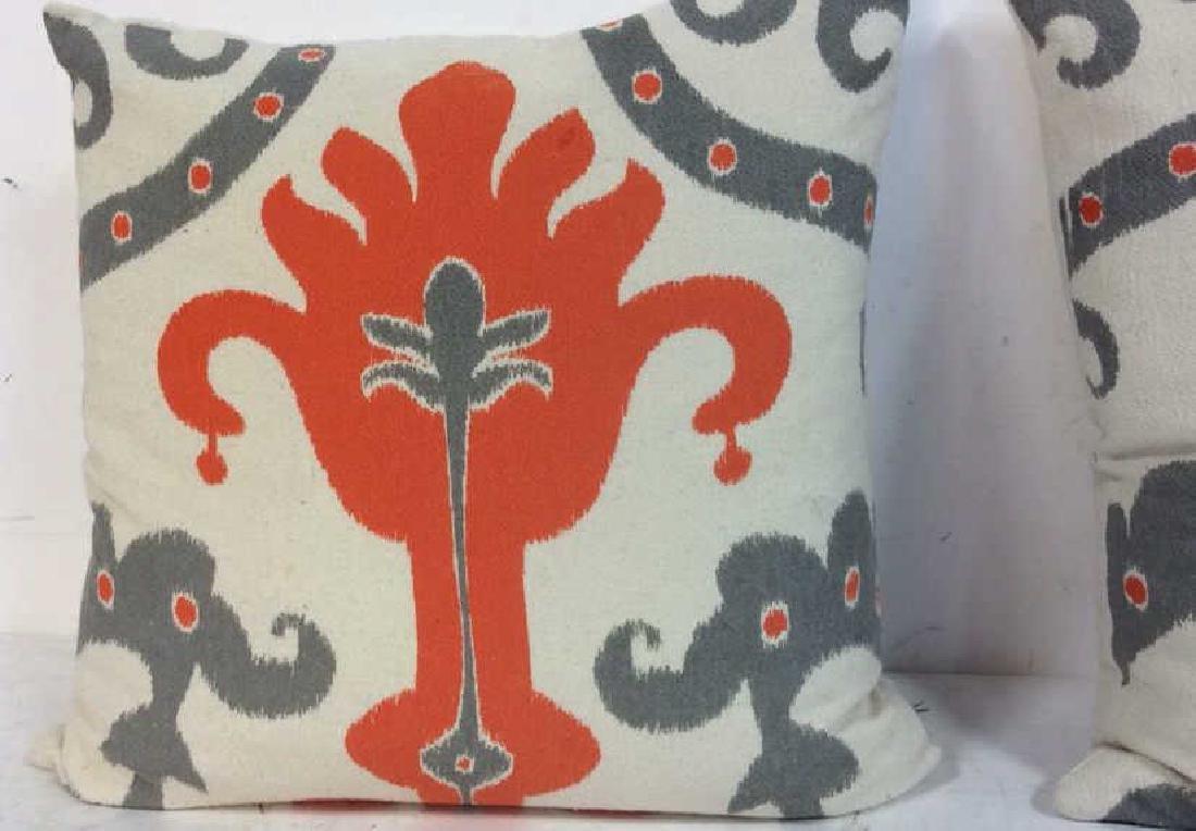 Pair Orange Gray White Ikat Design Pillows - 2