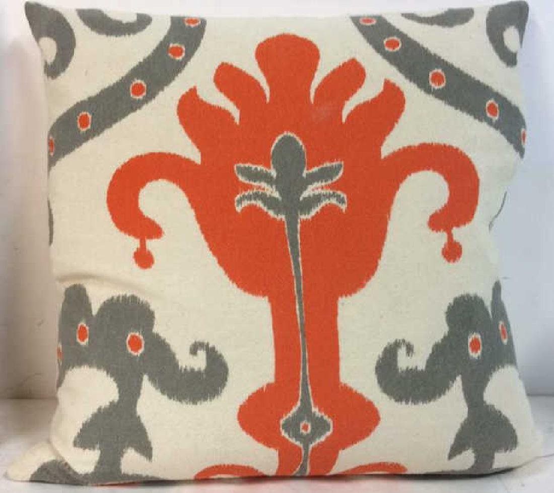 Pair Orange Gray White Ikat Design Pillows - 3