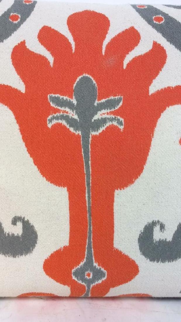 Pair Orange Gray White Ikat Design Pillows - 4