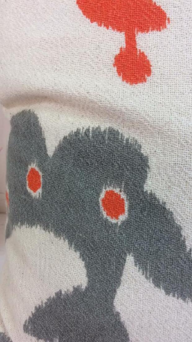 Pair Orange Gray White Ikat Design Pillows - 6