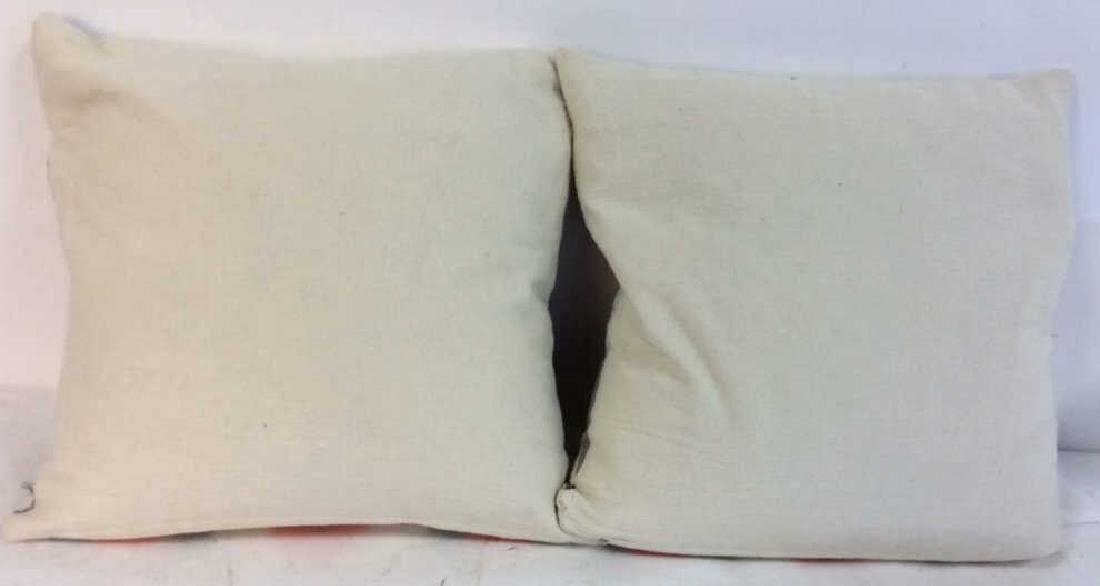 Pair Orange Gray White Ikat Design Pillows - 8