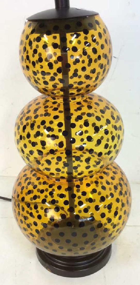 Yellow Glass Black Polka Dots Lamp - 2