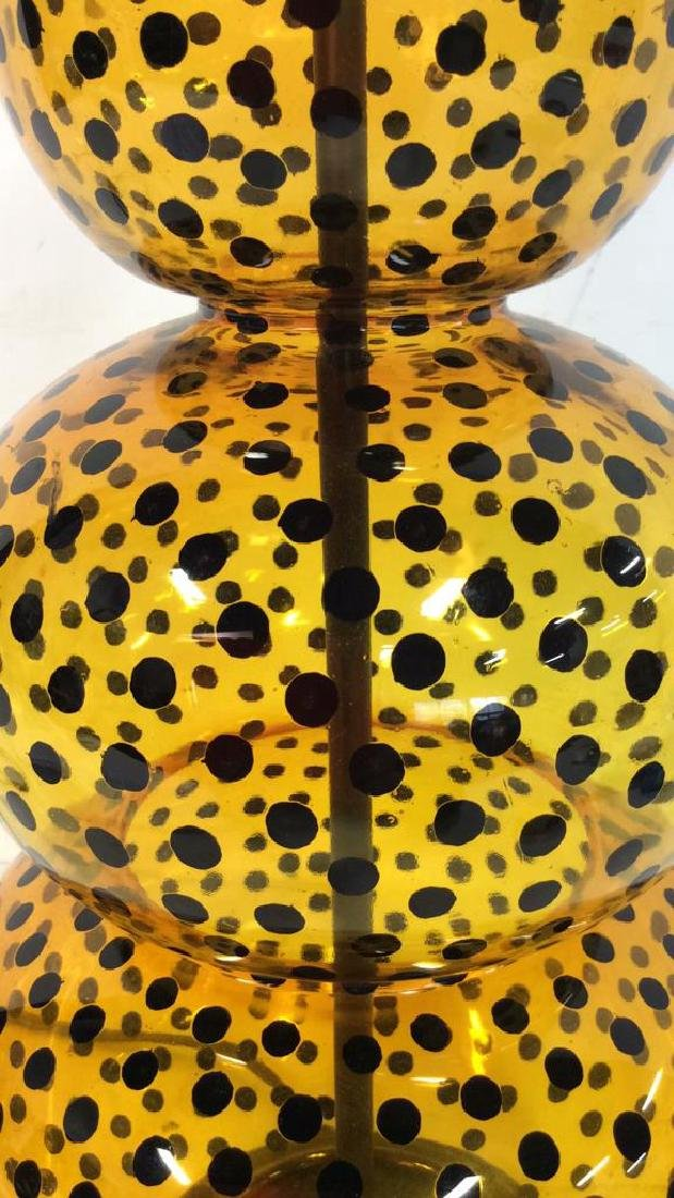 Yellow Glass Black Polka Dots Lamp - 3