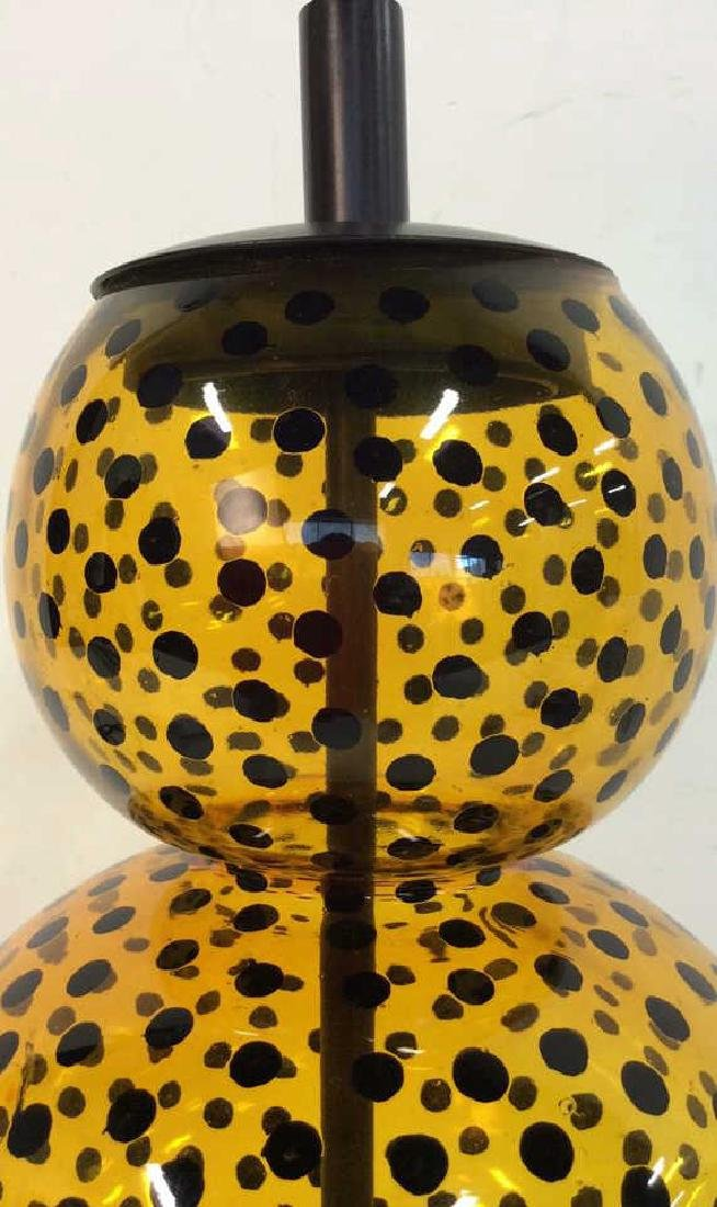 Yellow Glass Black Polka Dots Lamp - 4