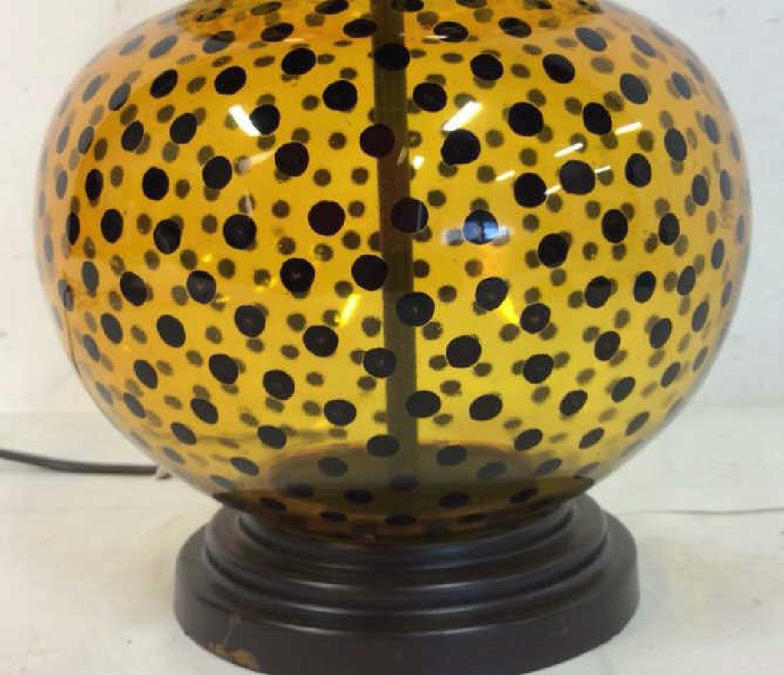 Yellow Glass Black Polka Dots Lamp - 5