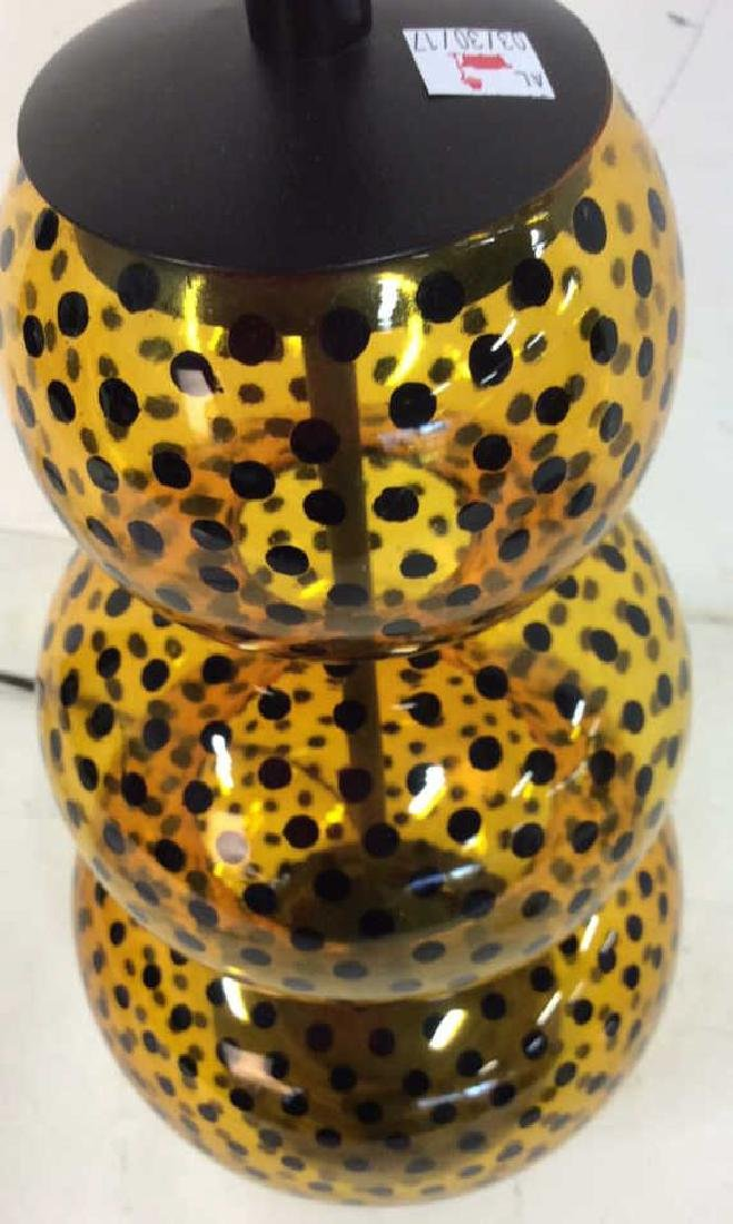 Yellow Glass Black Polka Dots Lamp - 6