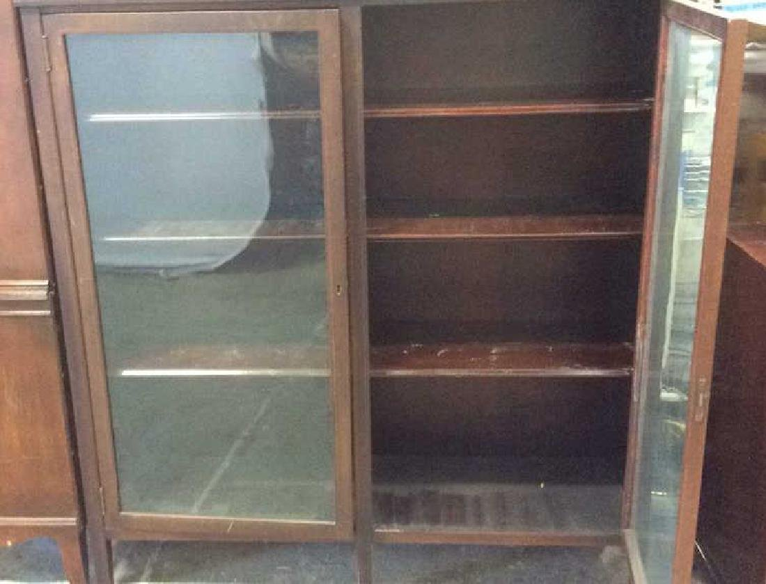 Vintage Mahogany 2 Door Glass Cabinet - 5