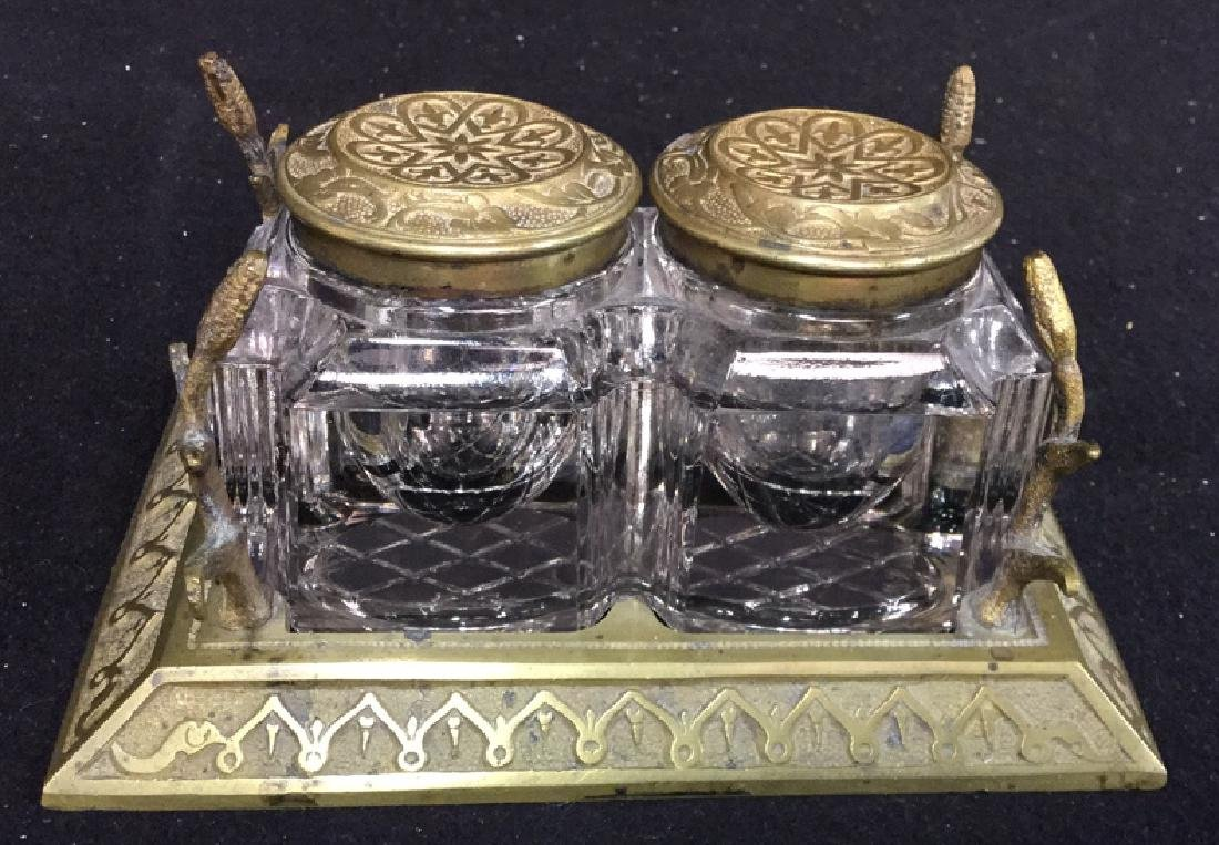 Antique Crystal And Brass Inkwell Set