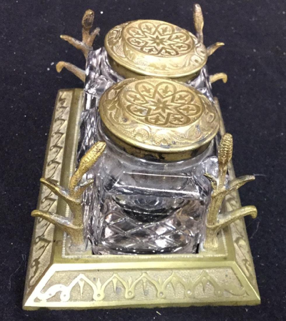 Antique Crystal And Brass Inkwell Set - 2