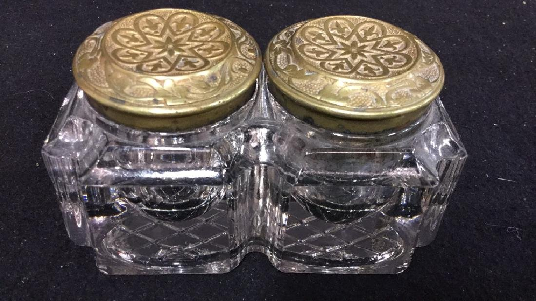 Antique Crystal And Brass Inkwell Set - 4