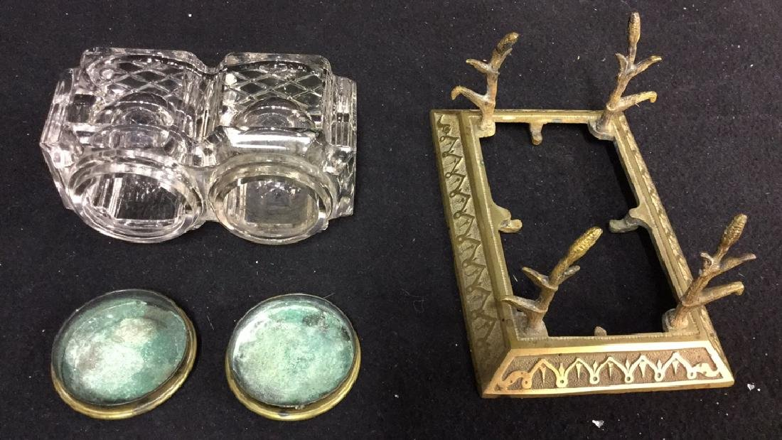Antique Crystal And Brass Inkwell Set - 8