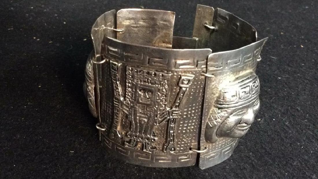 Sterling Incan Motif Design Link Bracelet - 10