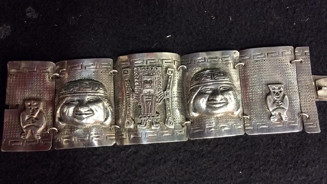 Sterling Incan Motif Design Link Bracelet - 2