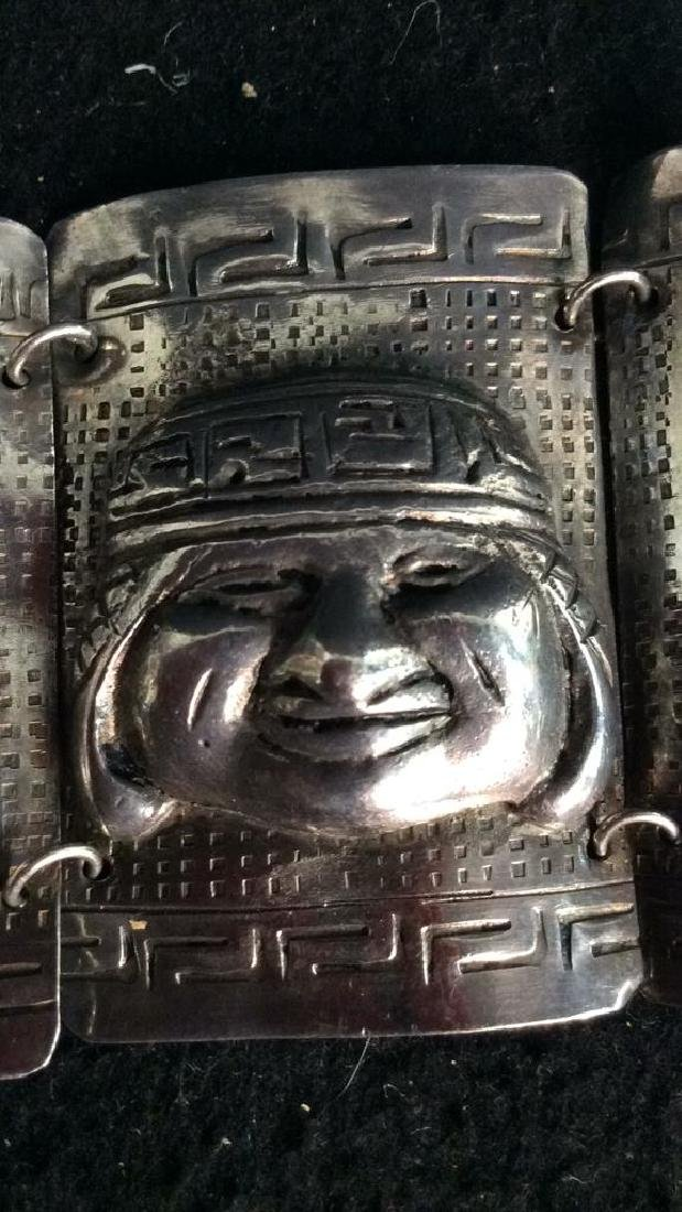 Sterling Incan Motif Design Link Bracelet - 5
