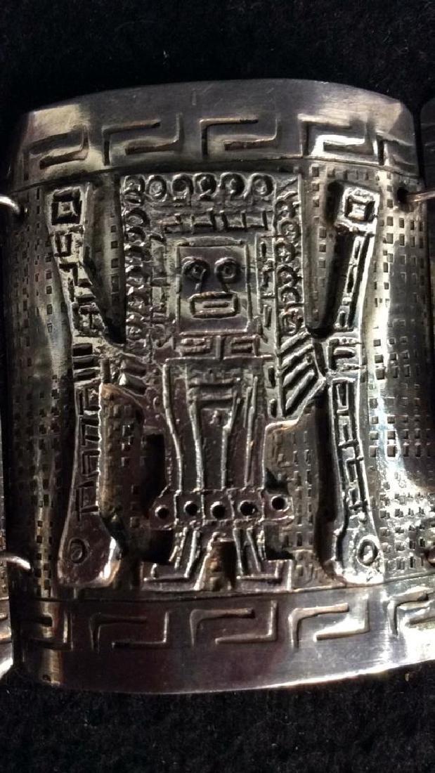 Sterling Incan Motif Design Link Bracelet - 6
