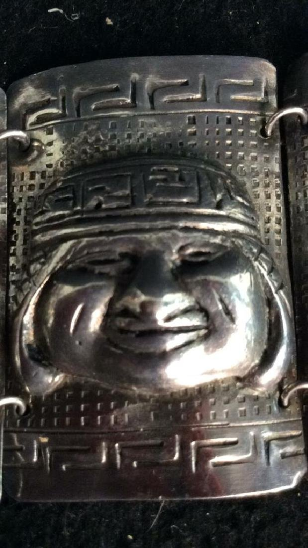 Sterling Incan Motif Design Link Bracelet - 8