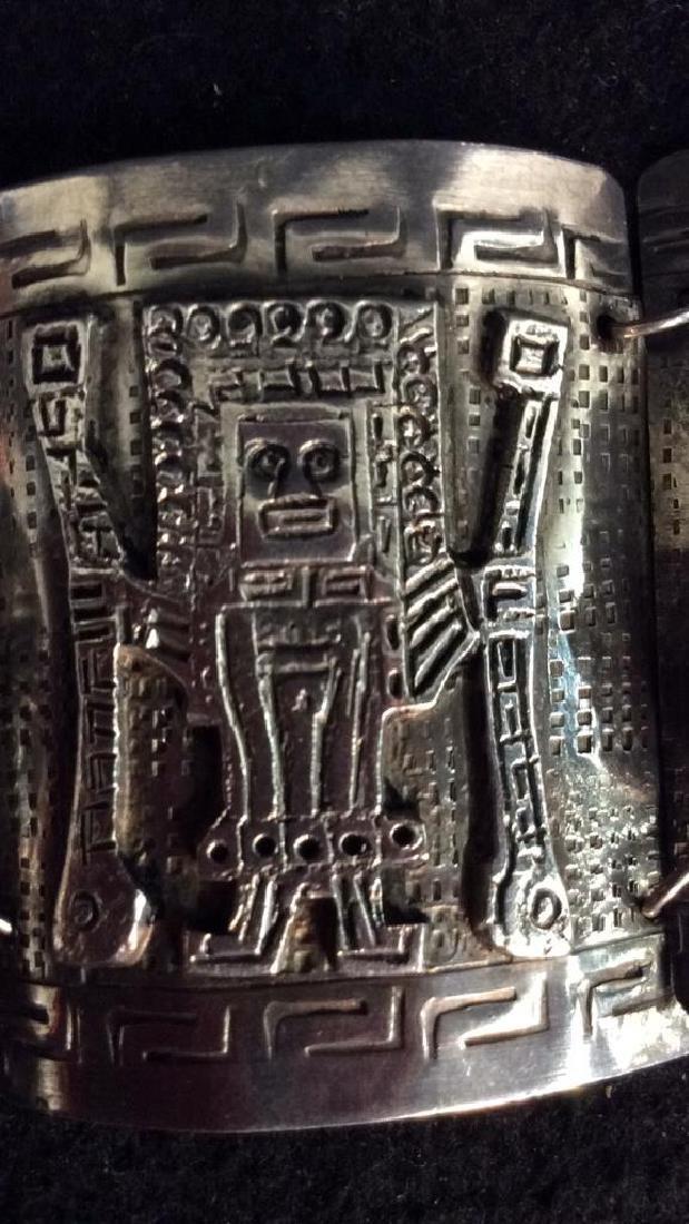 Sterling Incan Motif Design Link Bracelet - 9
