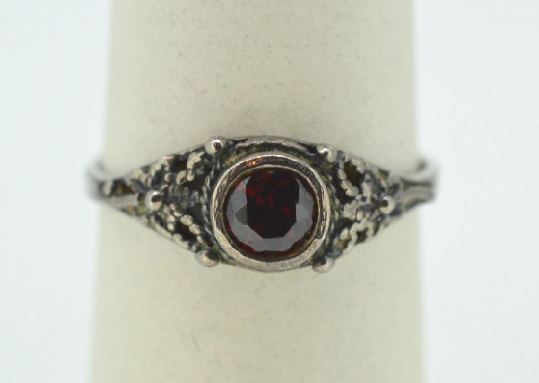 """Vintage Garnet & Silver Ring Size 7 3/4"""""""