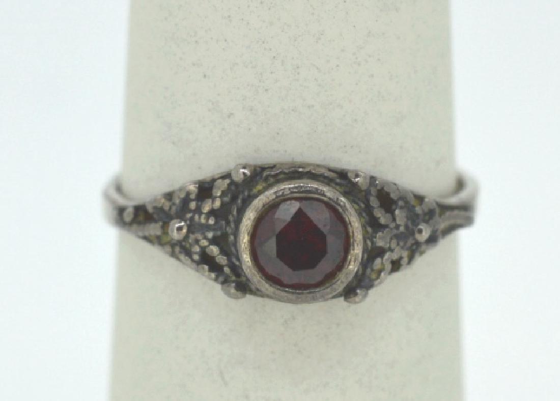 """Vintage Garnet & Silver Ring Size 7 3/4"""" - 2"""
