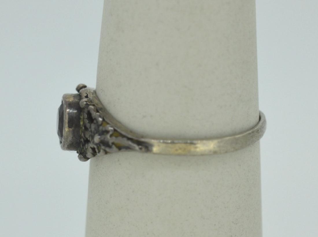 """Vintage Garnet & Silver Ring Size 7 3/4"""" - 3"""