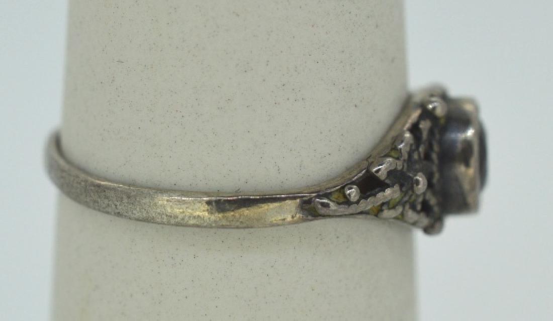 """Vintage Garnet & Silver Ring Size 7 3/4"""" - 4"""