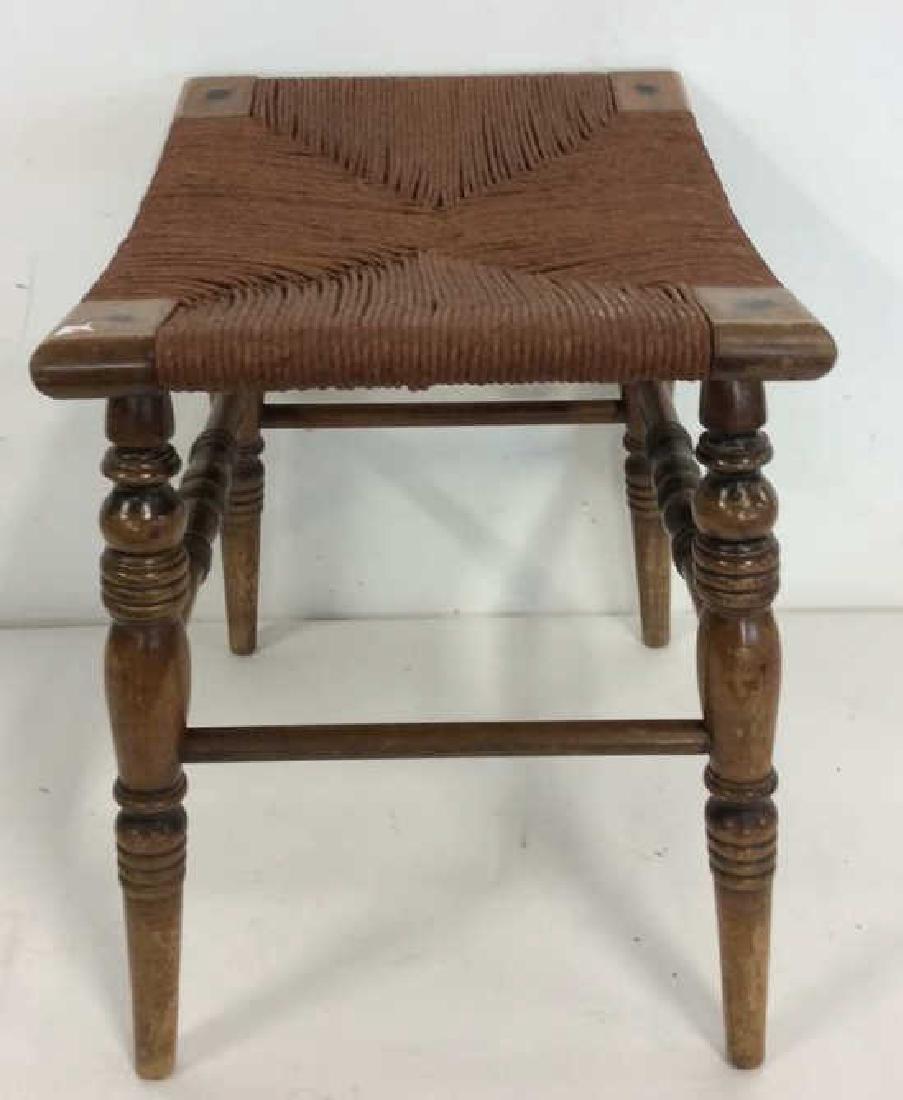 Antique Rush Seat Bench Stool - 3
