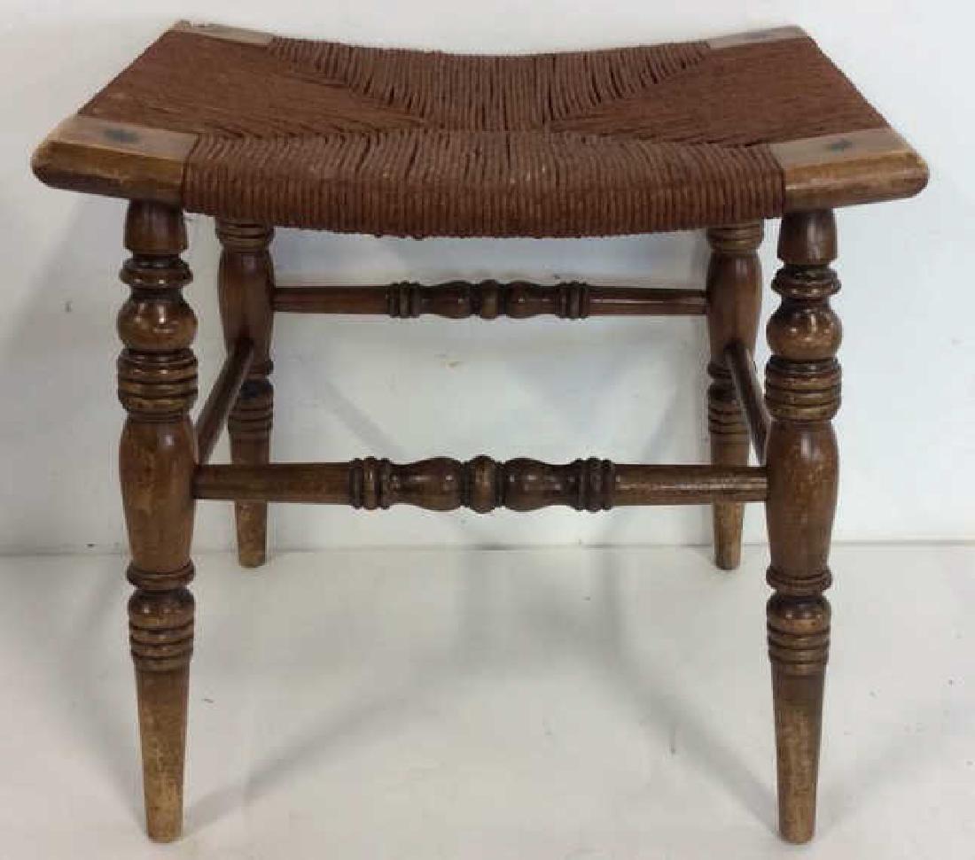 Antique Rush Seat Bench Stool - 4