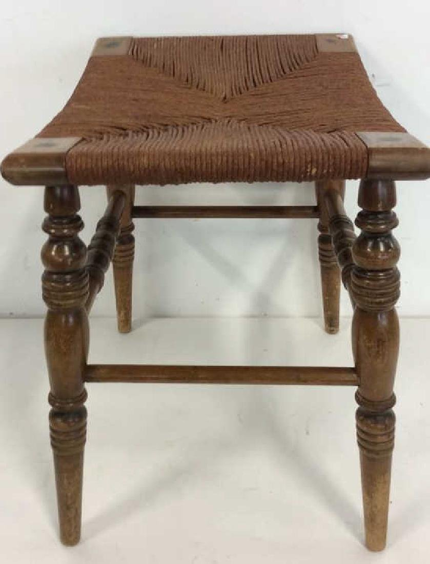 Antique Rush Seat Bench Stool - 5