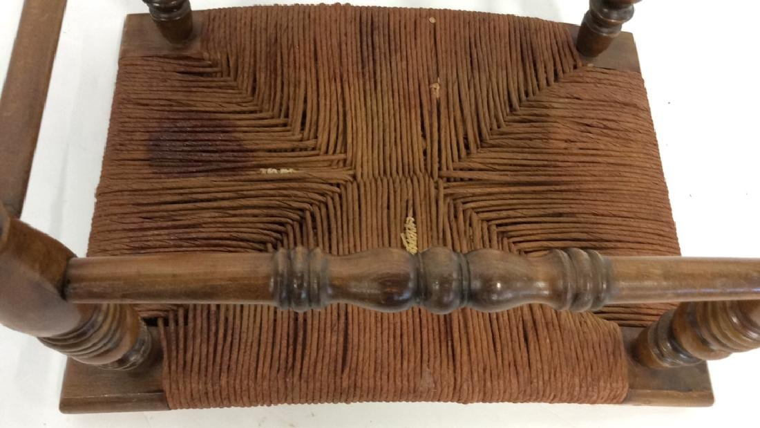 Antique Rush Seat Bench Stool - 7