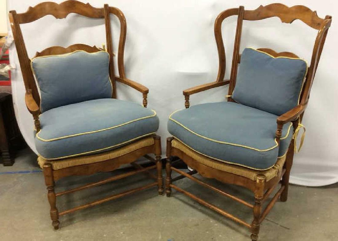 Pair Antique French Style Open Wood Wing Chairs