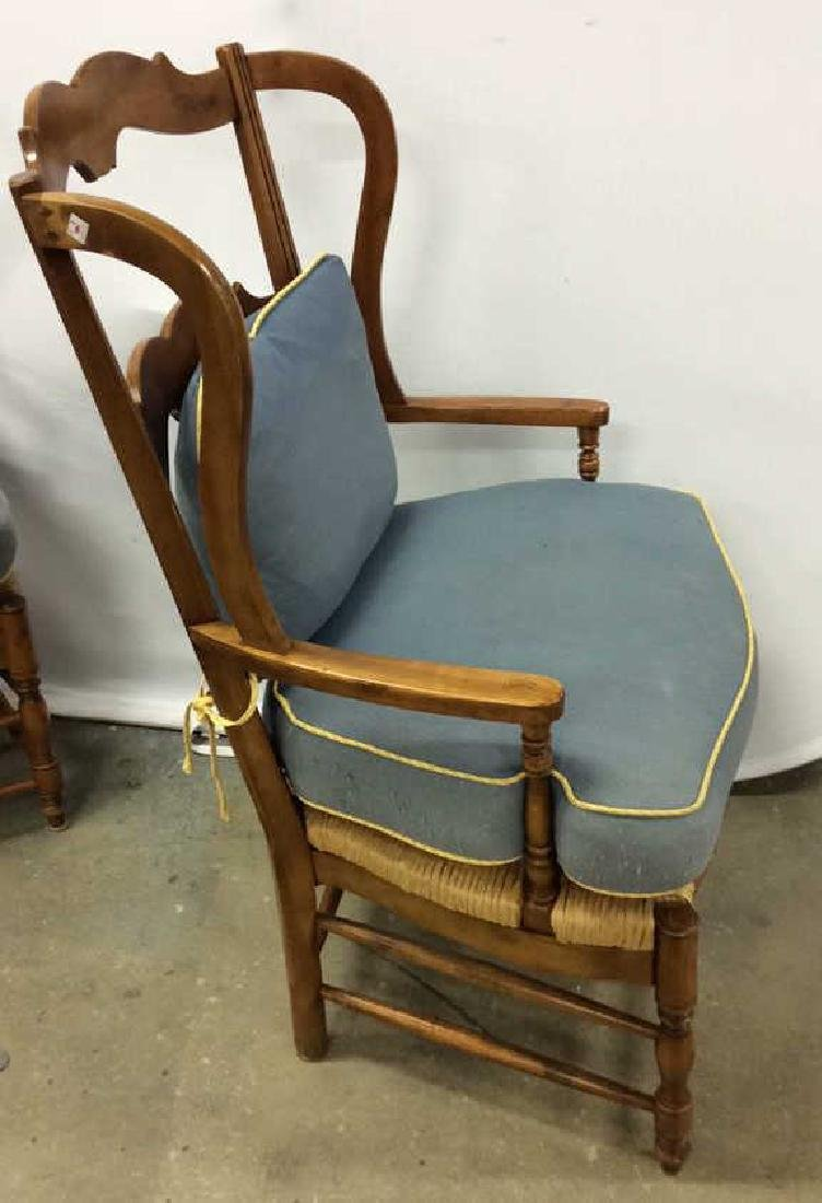 Pair Antique French Style Open Wood Wing Chairs - 3