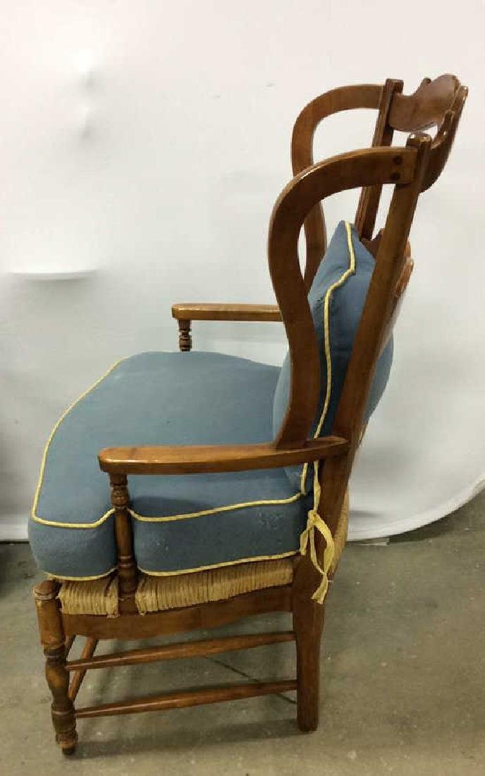 Pair Antique French Style Open Wood Wing Chairs - 5