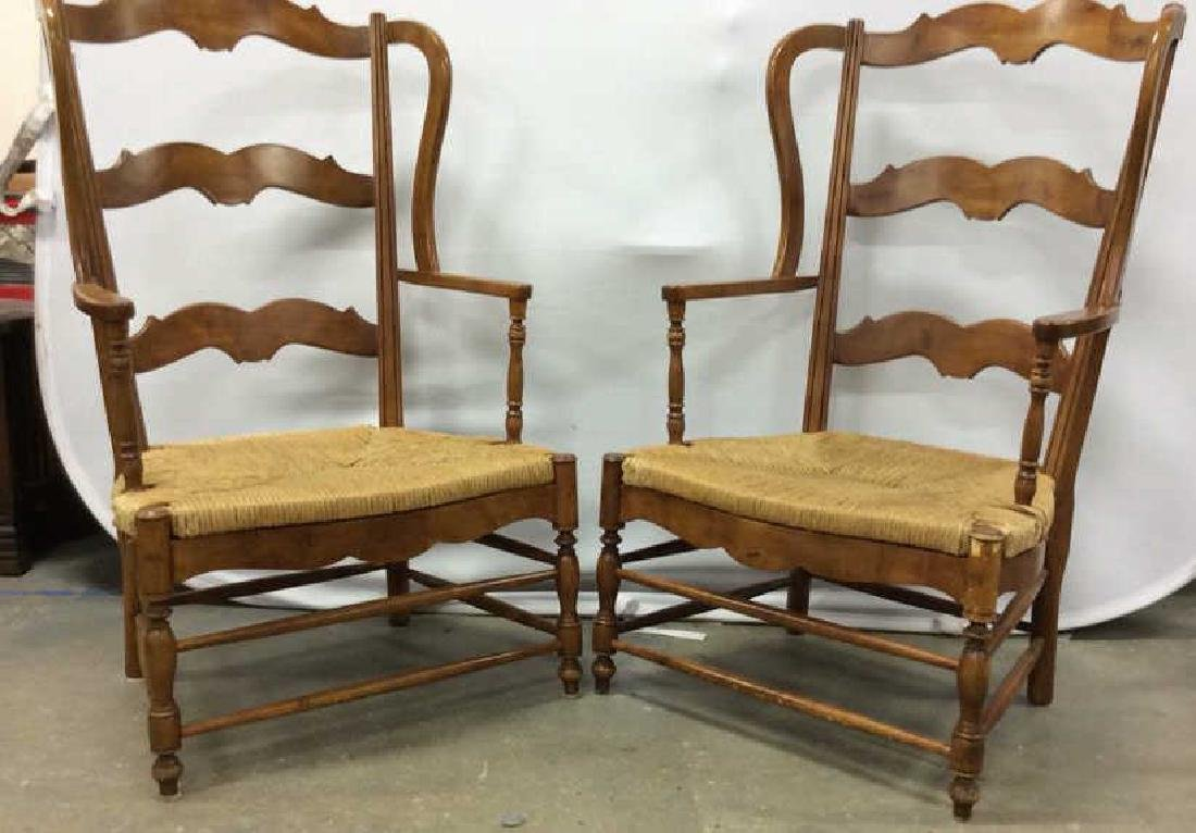 Pair Antique French Style Open Wood Wing Chairs - 6