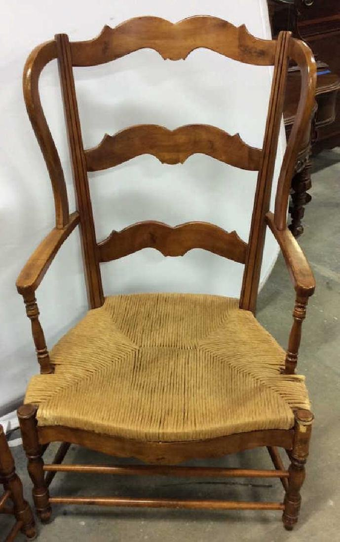 Pair Antique French Style Open Wood Wing Chairs - 8
