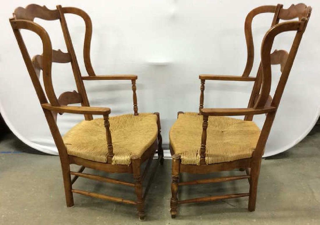 Pair Antique French Style Open Wood Wing Chairs - 9