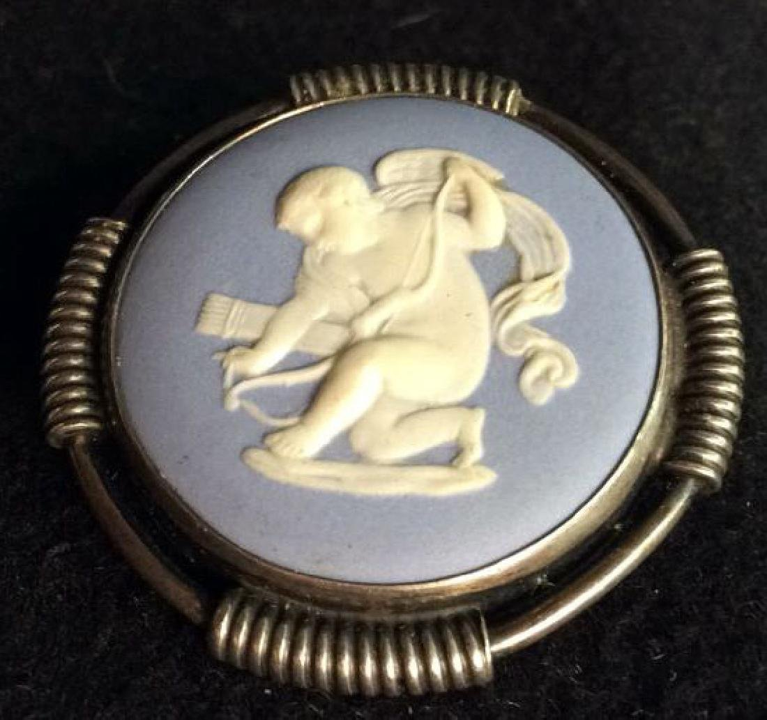 Wedgewood Medallion Set in Sterling Silver Pin