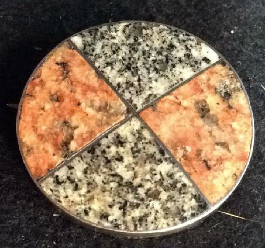 Two Granite Stones Set in Silver Pin