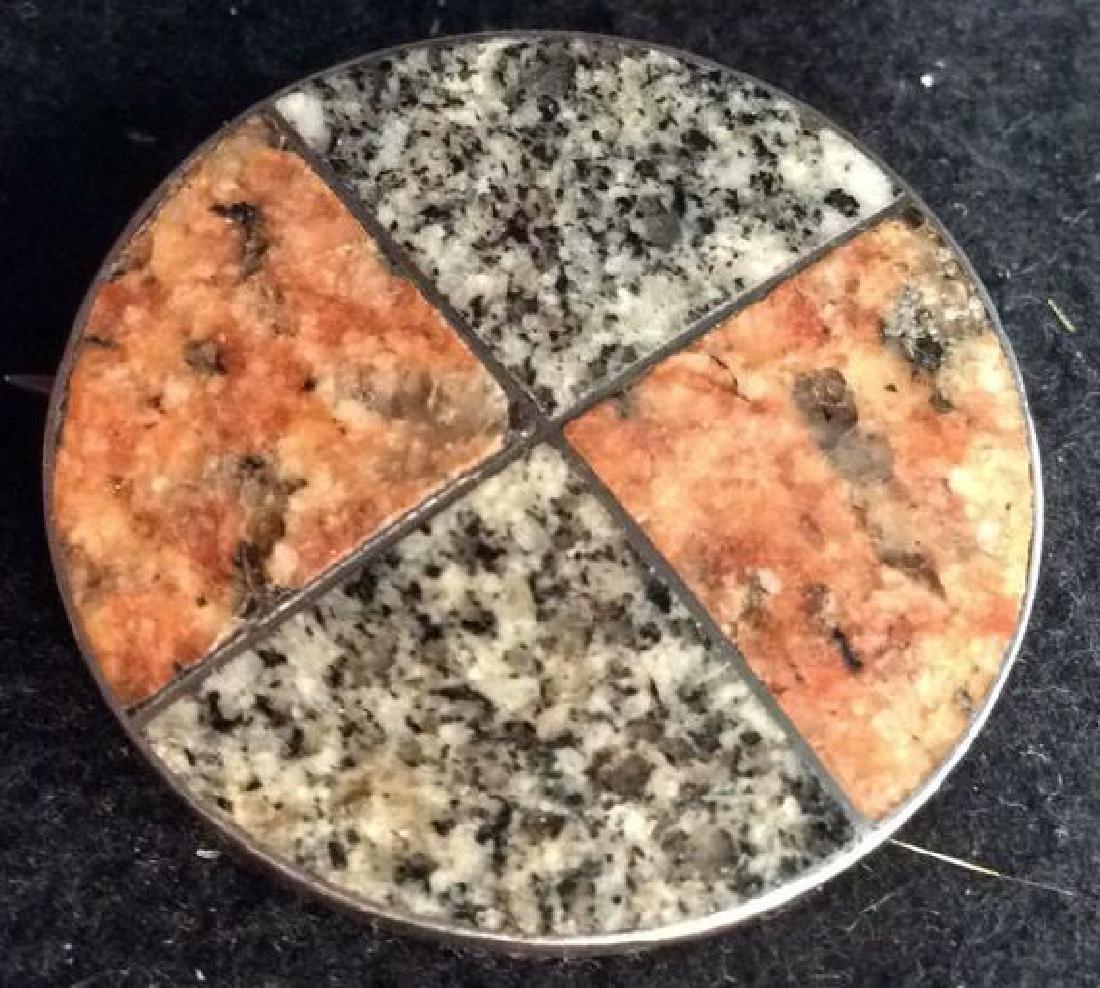 Two Granite Stones Set in Silver Pin - 2