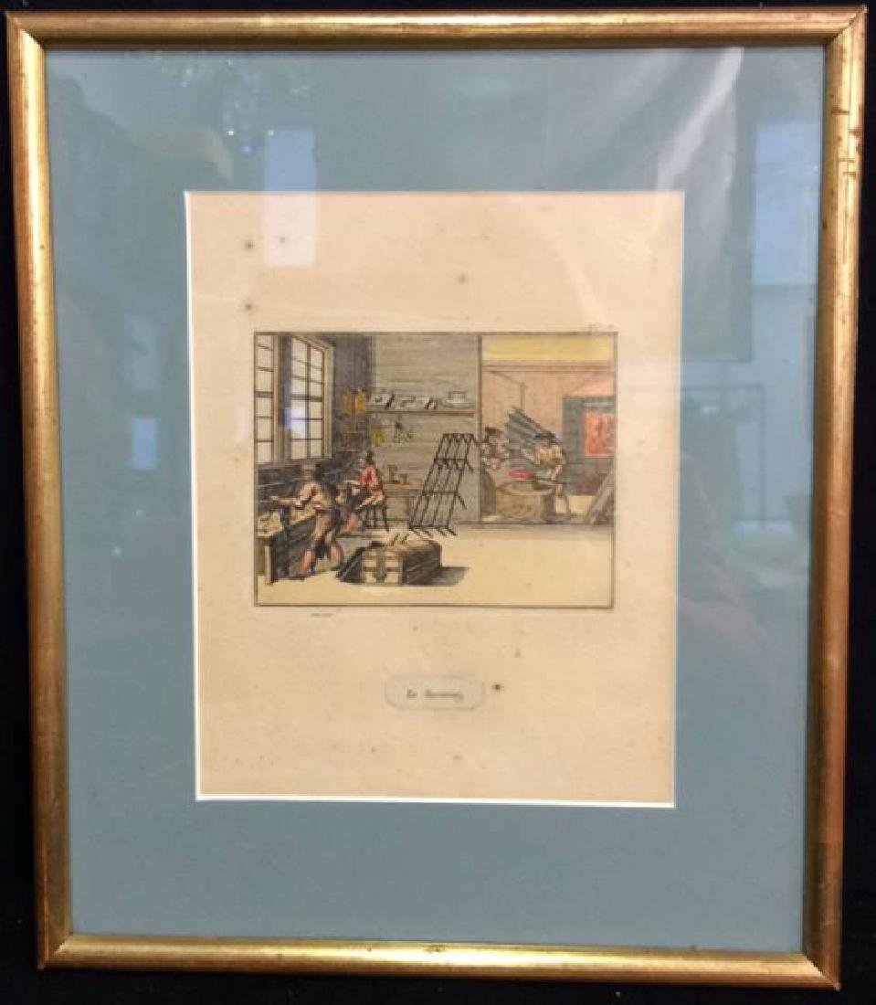Antique Hand Colored French Engraving